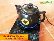 Ấm sắc thuốc bắc đất nung sử dụng trên bếp điện từ NodaCook Bát Tràng