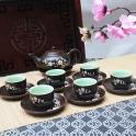 Bộ ấm chén vẽ hoa đào câu chúc Phúc Lộc Thọ - Vượng Khang Ninh (Men nâu)