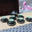 Bộ ấm chén Ala Phúc Lộc Thọ - Vượng Khang Ninh (Men xanh)