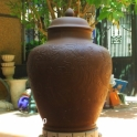 Chum sành 60 lít khắc nổi Hoa sen Cá chép