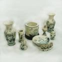 Bộ đồ thờ men rạn họa tiết Hoa Sen ban thần tài 09 sản phẩm (Men rạn)
