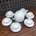 Bộ ấm chén uống trà bằng sứ men trắng Hải Long Bát Tràng
