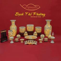 đồ thờ cúng dát vàng bằng sứ Bát Tràng