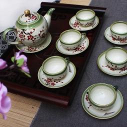 Bộ ấm chén dáng Minh Long vẽ hoa đào 500 ml (Men rêu)