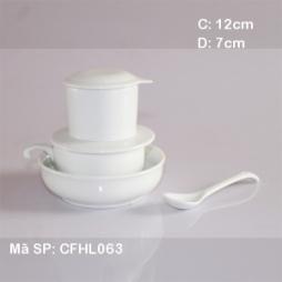 Bộ phin tách cafe giữ nhiệt kèm bát (Trắng)