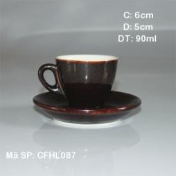 Tách cafe sứ Espresso TBN 80ml tinh tế (Nâu đậm)
