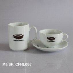 Bộ ly sứ cafe in logo Black Berry cao cấp (Trắng)