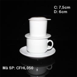 Bộ phin kèm tách cafe & đĩa kê (Trắng)