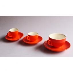 Bộ cốc espresso, cappuccino cỡ trung, cỡ đại dáng Ý màu cam