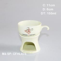 Bộ tách cafe & bếp đun (Trắng ngà)