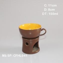 Bộ tách cà phê & bếp đun cà phê men nâu