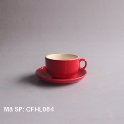 Cốc cafe truyền thống quai tròn men đỏ