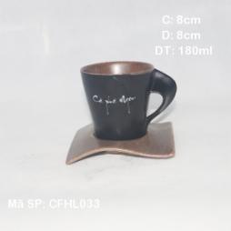 Cốc sứ pha cà phê quai xoắn lòng gốm (Đen)
