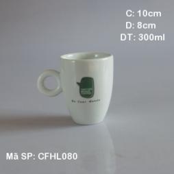 Cốc latte dáng Ý quai tròn men trắng