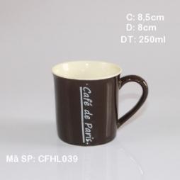 Cốc sứ pha coffee lòng trắng in logo Cafe Paris (Nâu)