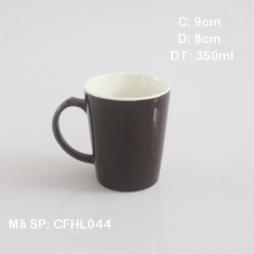 Cốc sứ cafe lòng trắng quai C (Nâu)
