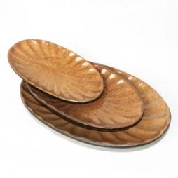Bộ 03 kích cỡ đĩa bầu dục xoài gân (Da lươn)