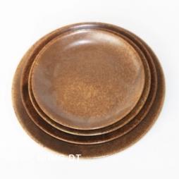 Bộ đĩa sứ tròn phong cách Nhật Bản (Da lươn)