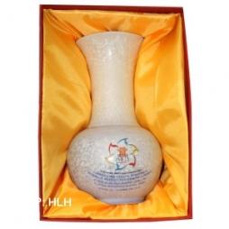 Hộp đựng lọ hoa sứ lót lụa vàng quà tặng cao cấp Bát Tràng