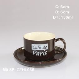 Ly sứ cafe cao cấp in logo de Paris (Nâu)