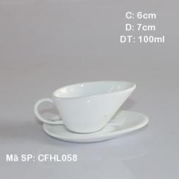 Ly sứ cafe cách điệu kèm đĩa kê dáng chiếc lá (Trắng)
