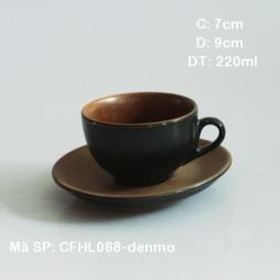 Tách Cafe Cappuccino kiểu Ý 220ml (Đen lòng gốm)