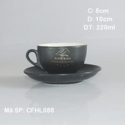 Tách cafe cappuccino kiểu Ý in logo quà tặng Minh Minh (Đen mờ)