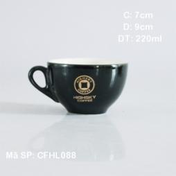 Tách cafe cappucinno men đen mờ