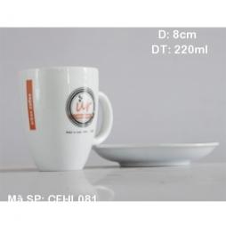 Cốc latte dáng Ý quai C kèm đĩa kê (Trắng)