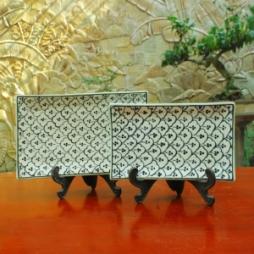 Khay chữ nhật vẽ bèo hai cỡ S1 S2 (Xanh đồng)