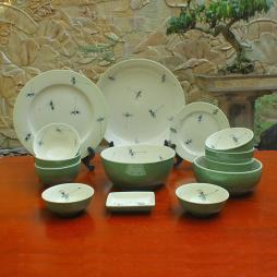 Set 14 món bát đĩa vẽ chuồn cho 4 - 6 người