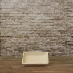 Đĩa muối chữ nhật men mát kem