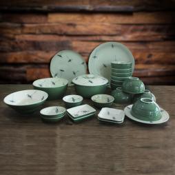 Set 24 sản phẩm bộ bát đĩa sứ vẽ chuồn cao cấp (Xanh Đồng)