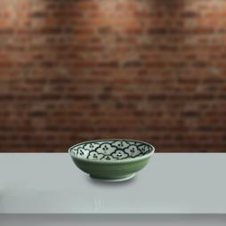 Đĩa muối to men xanh đồng vẽ bèo