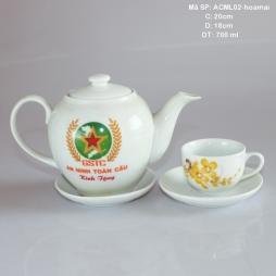 Bộ ấm trà sứ in logo GSTC họa tiết hoa mai (Trắng)