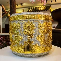 bát hương bằng sứ dát vàng