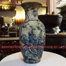 Tiểu Lộc Bình Công Đào men Rạn bóng Hoàng Lưu Ly