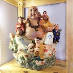 Tượng Phật Di Lạc Ngũ Phúc cao 40cm bằng sứ