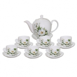 Bộ ấm chén dáng Minh Long hoa trà 800ml (Trắng)