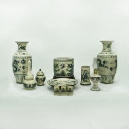 Bộ đồ thờ men rạn họa tiết Long Nguyệt 09 sản phẩm (Men rạn)