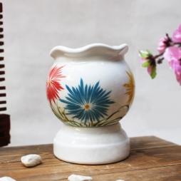 Đèn xông tinh dầu họa tiết hoa ba màu cỡ nhỡ