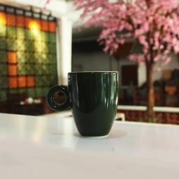 Tách cà phê Latte Ý quai tròn (Xanh bộ đội)