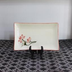 Khay sứ chữ nhật vẽ tay Sen chỉ hồng cỡ S4 (Trắng)