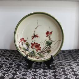Đĩa sứ tròn Xanh rêu cổ vẽ Sen đỏ phi 22cm