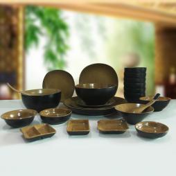 Set 24 sản phẩm bộ bát đĩa sứ cao cấp (Đen lòng gốm)