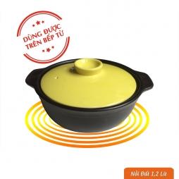 Nồi đất 1,2 Lít dùng trên bếp từ (Men đen nắp vàng)