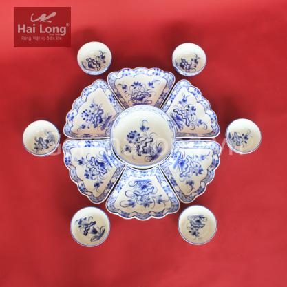 Bộ bát đĩa hoa mặt trời vẽ sen cổ xanh lam - gốm sứ thủ công tại Bát Tràng