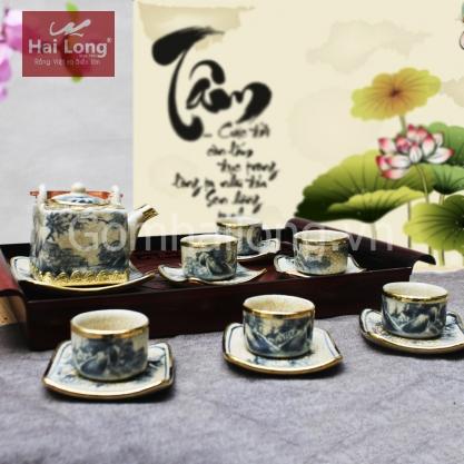 Bộ ấm trà dáng vuông bọc đồng kèm đĩa kê (Men rạn)