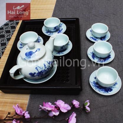 Tách uống trà đẹp dáng quả hồng xanh giả cổ