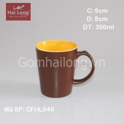 Cốc sứ pha cà phê quai C lòng vàng (Nâu)